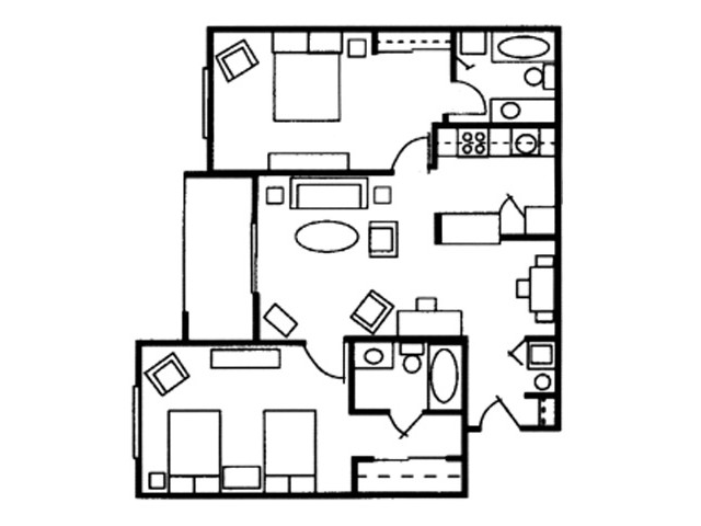 2 Bedroom, 2 Bathroom
